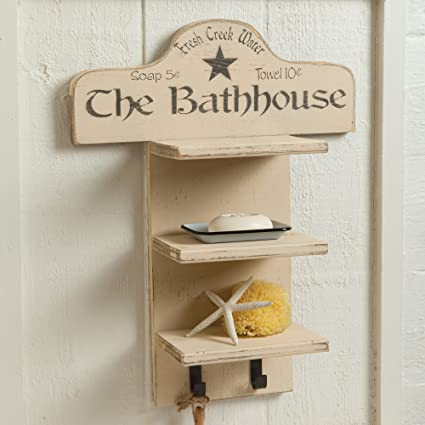 Rustic Bathhouse Wood Towel Shelf - - Amazon.com