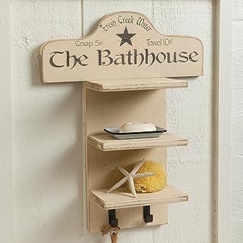 Rustic Bathhouse Wood Towel Shelf - - Amazon.com