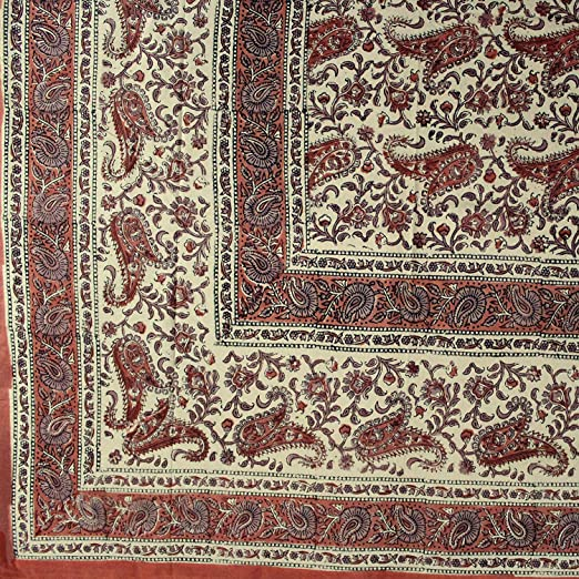 Homestead Rajasthan Paisley Block Print Cotton Tapestry-Bedspread-Throw