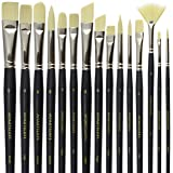 Paint Brush Set - 15 Synthetic Bristle Brushes