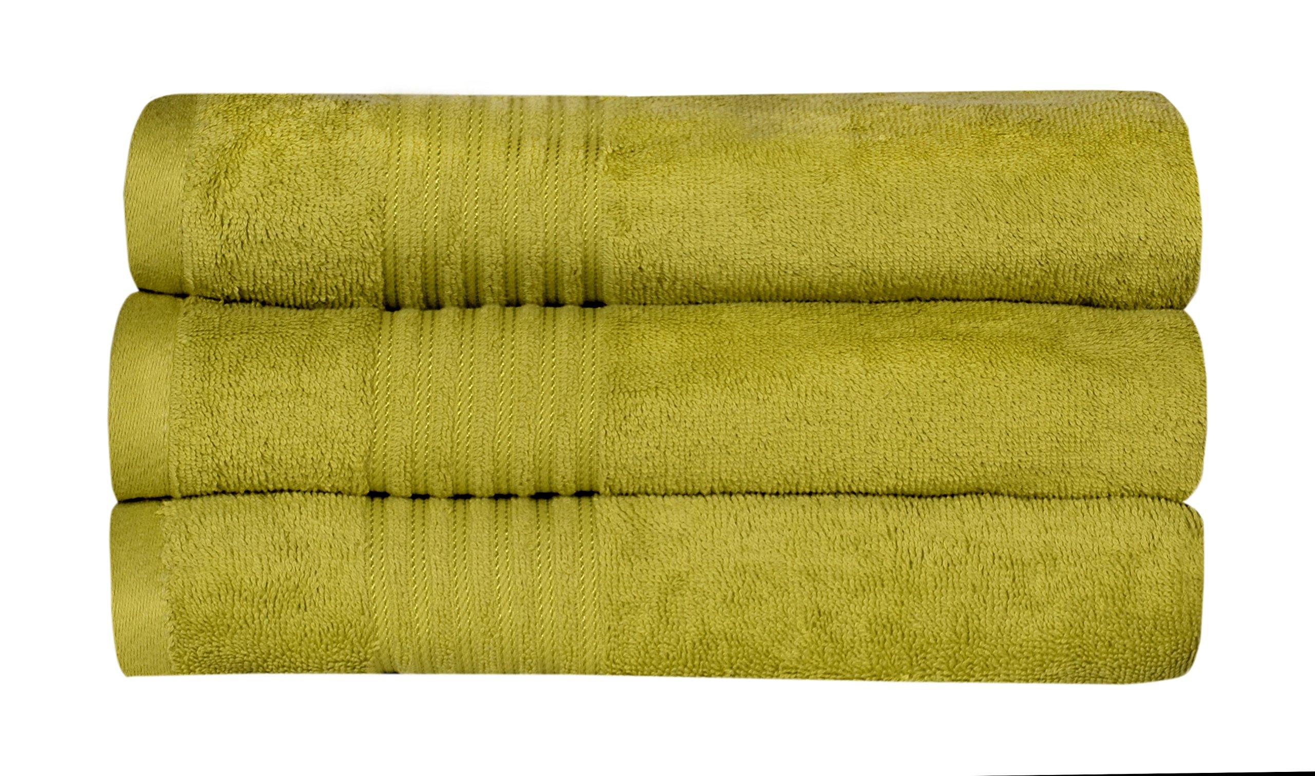 Casa Copenhagen 575 GSM (16.96oz/yd²) Cotton 35 x 70 inch 3 pack Bath Towels/Sheets - Neon Green