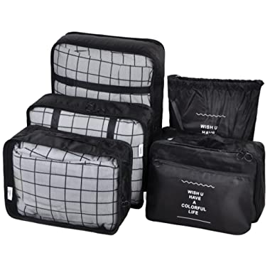 Vercord 6 Set Mesh Packing Cubes And Storage Bags Pack Travel Durable Luggage Organizers, Black