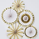Ginger Ray Gold Foiled Pin Wheel Fan Party Celebration Decorations - 5 Pack - Oh Baby!