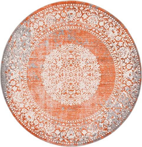 Unique Loom New Classical Collection Traditional Distressed Vintage Classic Terracotta Round Rug 6 0 x 6 0