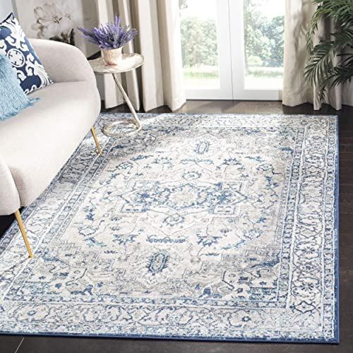 Safavieh Brentwood Collection BNT851G Light Grey and Blue Area 4 x 6 Rug