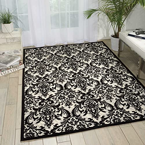 Nourison Damask Contemporary Area Rug, 5 Feet by 7 Feet 5 x 7 , Black White