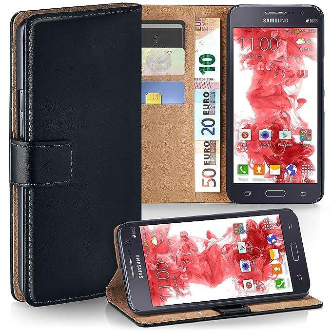 moex Samsung Galaxy Grand Prime   Hülle Schwarz mit Karten-Fach 360° Book Klapp-Hülle Handytasche Kunst-Leder Handyhülle für