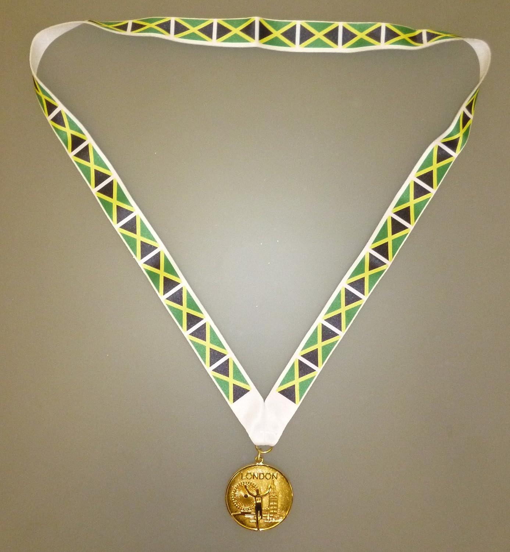 Goldenes Olympisches Spiel Stil Medaille mit Jamaikaner Kennzeichnet Kordel MI3 JAMAIKA OLYMPISCHE MEDAILLE