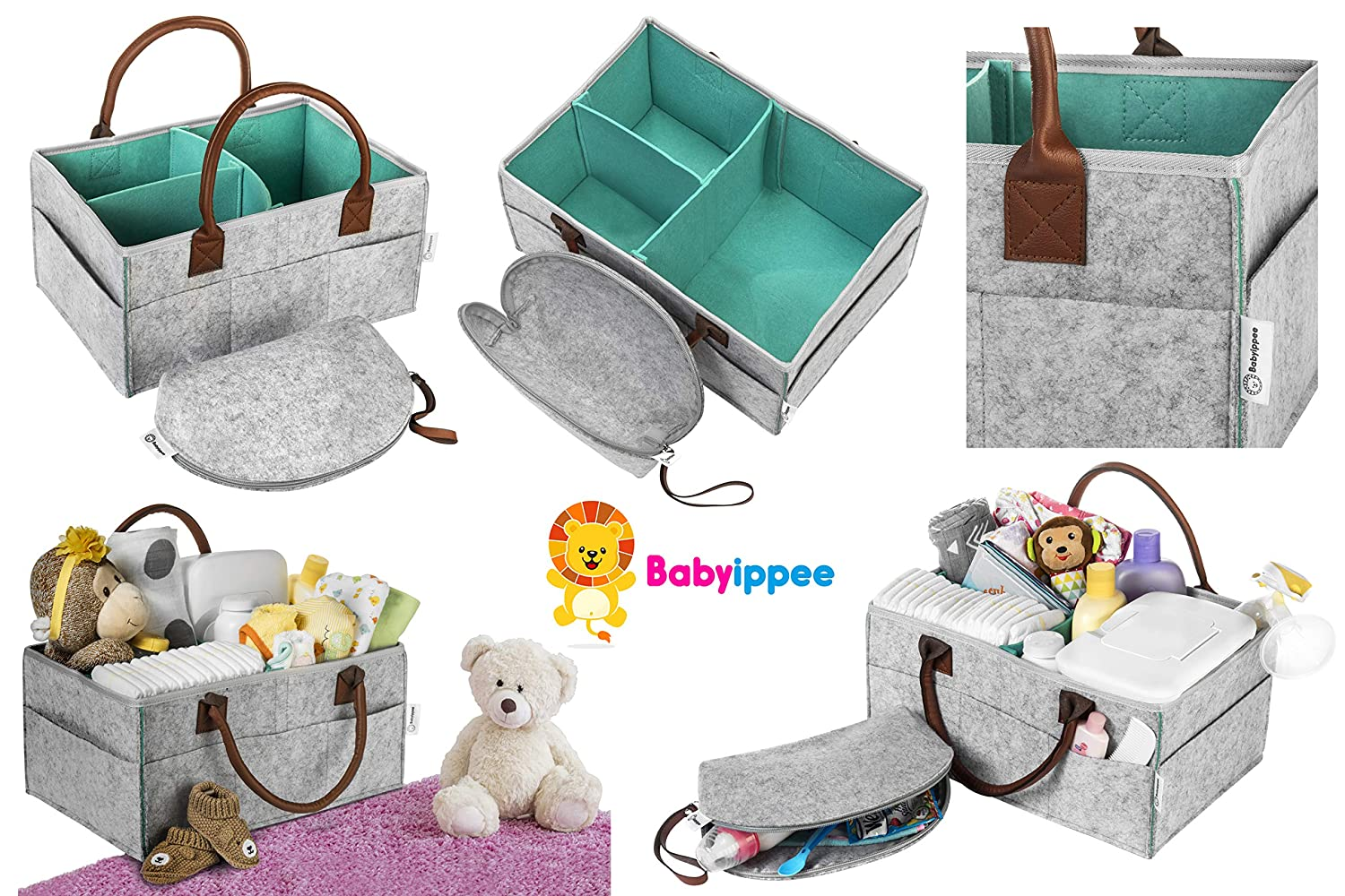 Car Travel Organizers 2 Felt Dividers with Portable Zip Pouch Foldable Baby Diaper Caddy Organizer by BABYIPPEE Newborn Nursery Room Storage Bin Tote Bag for Boys and Girls Changing Table