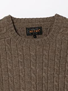 Wool Cable Crewneck Sweater 11-15-0881-103: Brown