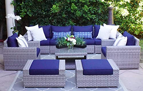 SunHaven Resin Wicker Outdoor Patio Furniture Set – Conversation Sectional Premium All Weather Gray Rattan Wicker, Aluminum Frame with Deluxe Fade Resistant Olefin Cushions 9 Pcs Conversation Set