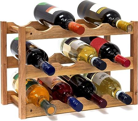 Hermoso estante de madera para sus mejores vinos,Estante de 3 pisos cada una para 4 botellas de vino