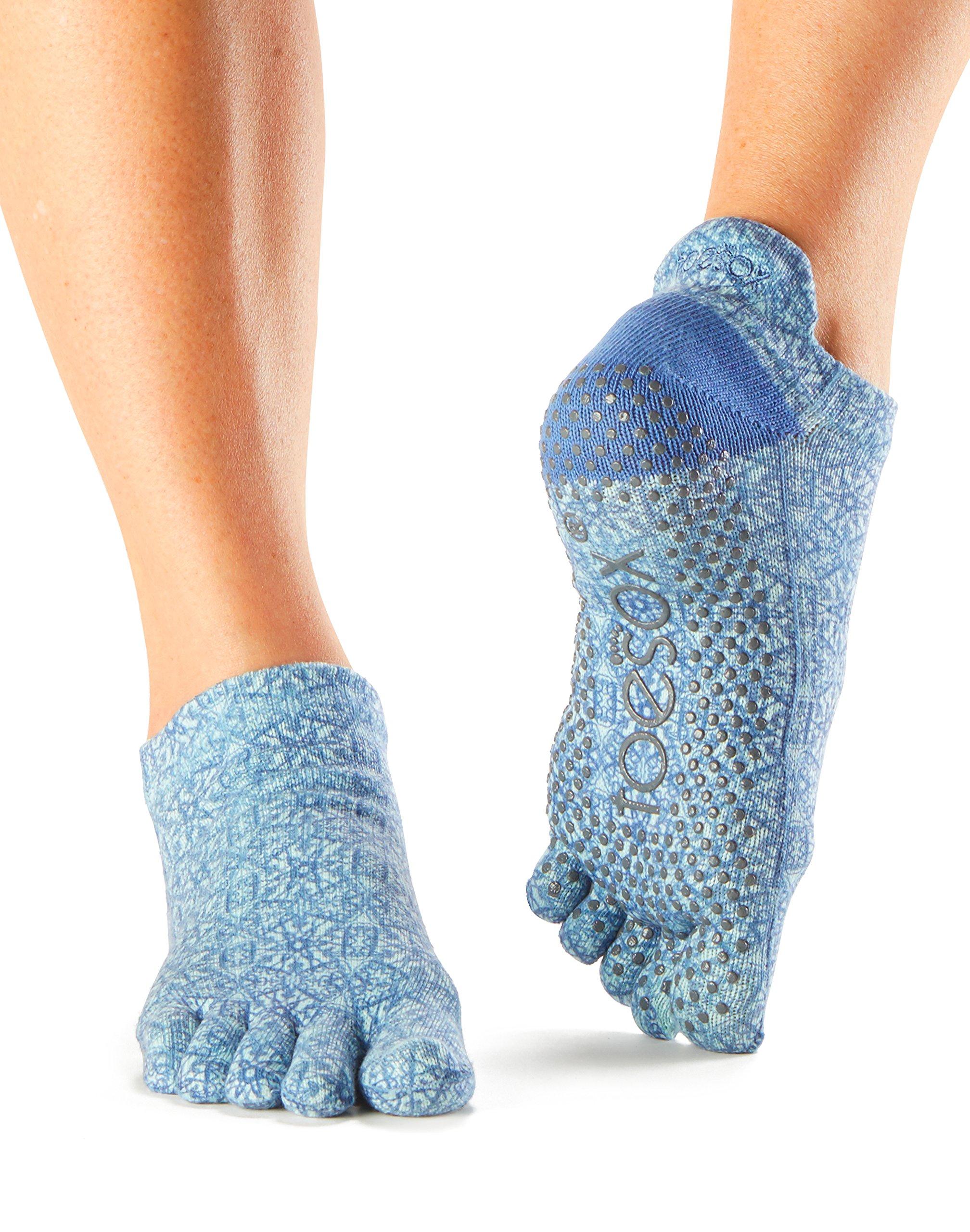 toesox Women's Low Rise Full Toe Grip Socks (Mirage) Small