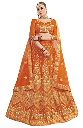 5e8c15dd95b maroosh Women S Silk Embroidered Lehenga Choli In Orange Color ...