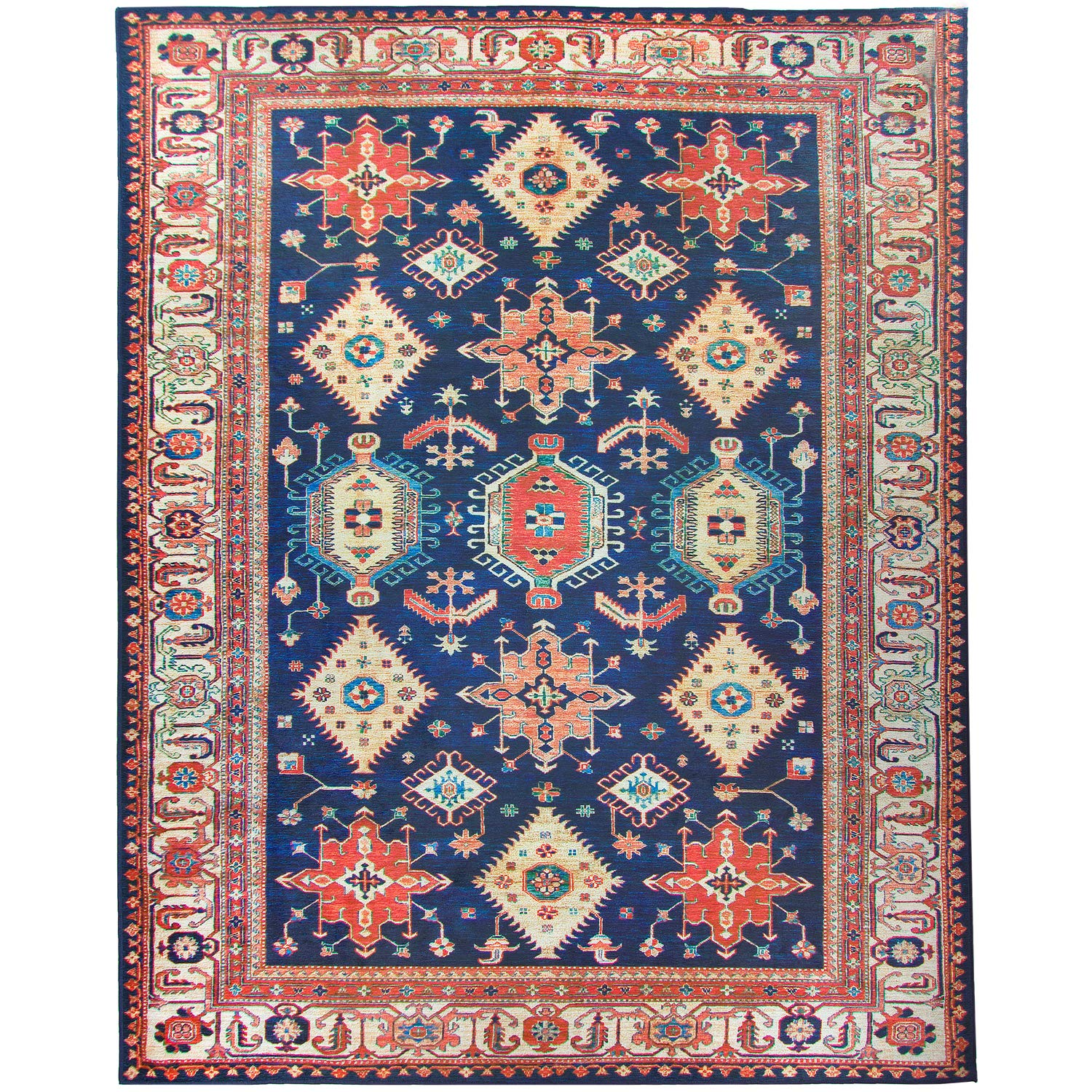 RUGGABLE Washable Stain Resistant Indoor/Outdoor, Kids, Pets, and Dog Friendly Area Rug 8'x10' Noor Sapphire