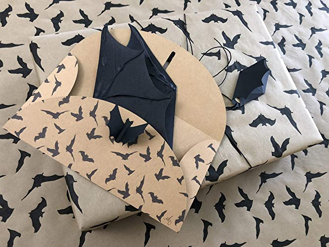 Gothic Bat Gift Wrap Set - Matching Gift Wrap, Envelope, Card and Gift Tag - Brown Kraft Wrapping Paper, Handmade Black Bat Greeting Card AND Bat Gift Tag