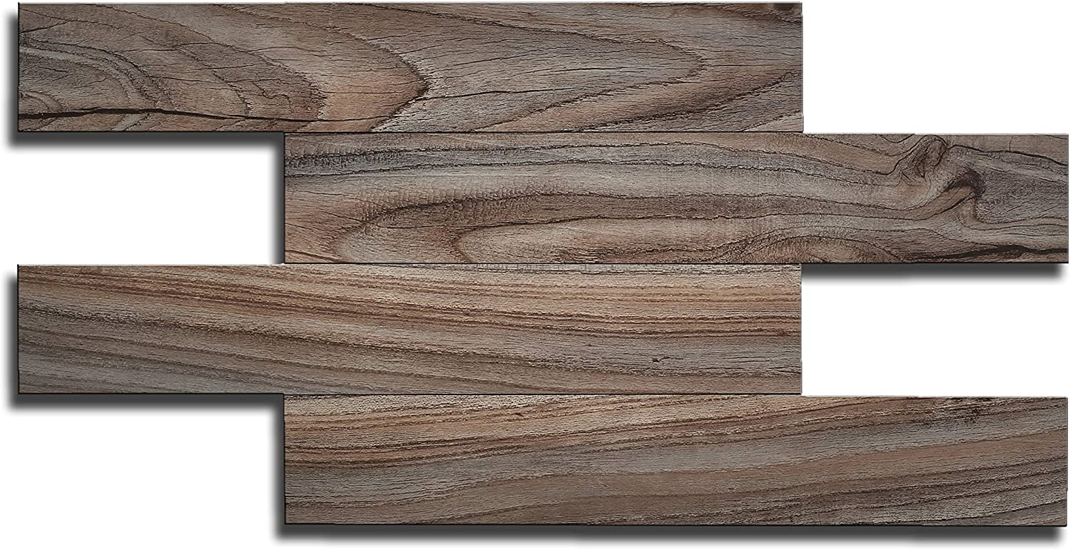 Adhesive Water Proof artesan/ía muro Peel and Stick Backsplash Tiles Fire Proof Kitchen Wood Grain Pack of 22 Tiles 13.4 inch x 6.7 inch per Tile Bathroom Anti-Moldy Fireplace