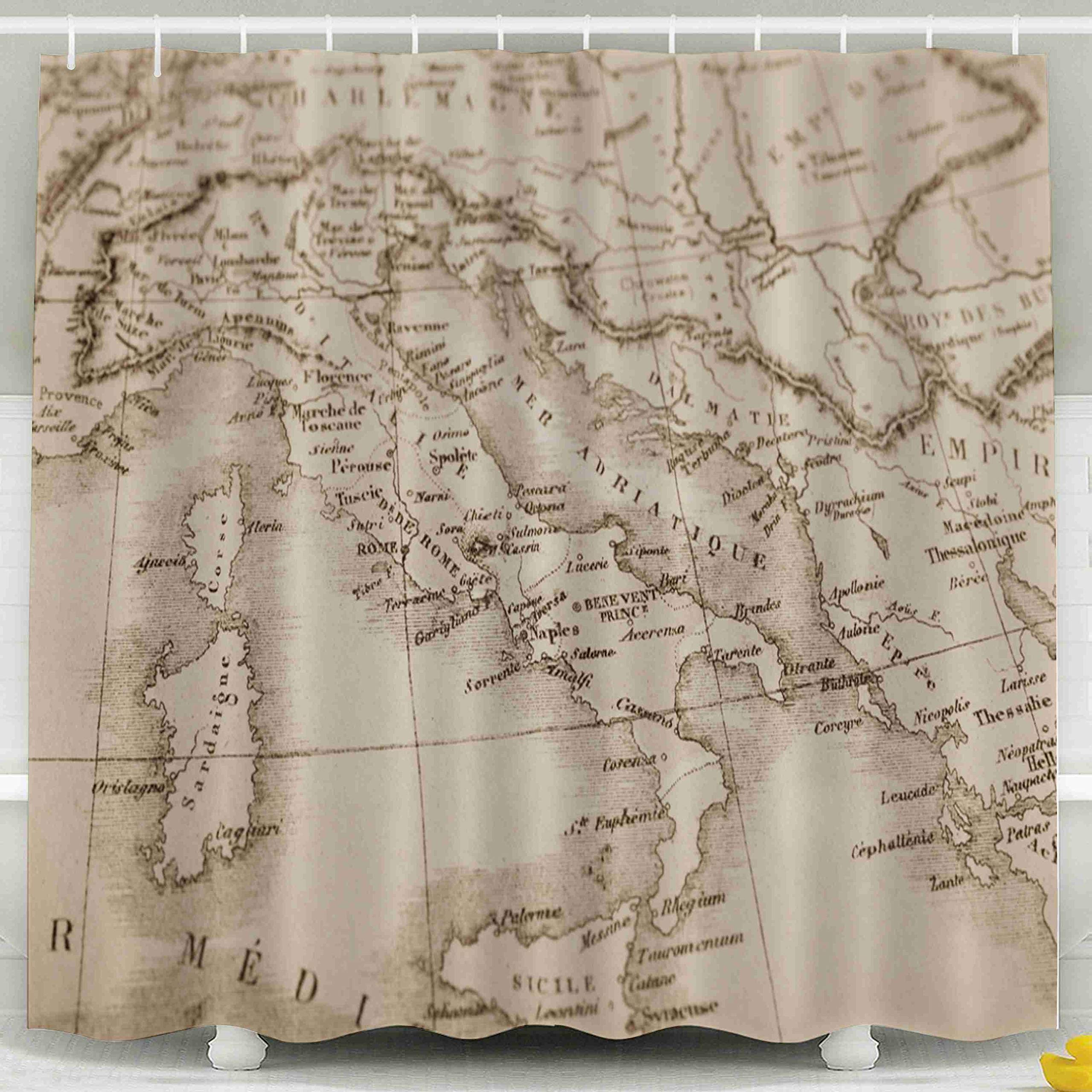 Jacrane Waterproof Fabric Bathroom Clear Shower Curtains Liner with Hooks Antique World Map Italy 72X72Inch,Pink Green