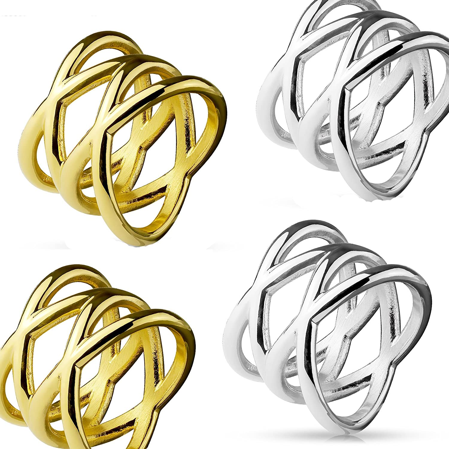 4 STAINLESS STEEL RINGS X STYLE GOLD AND SILVER