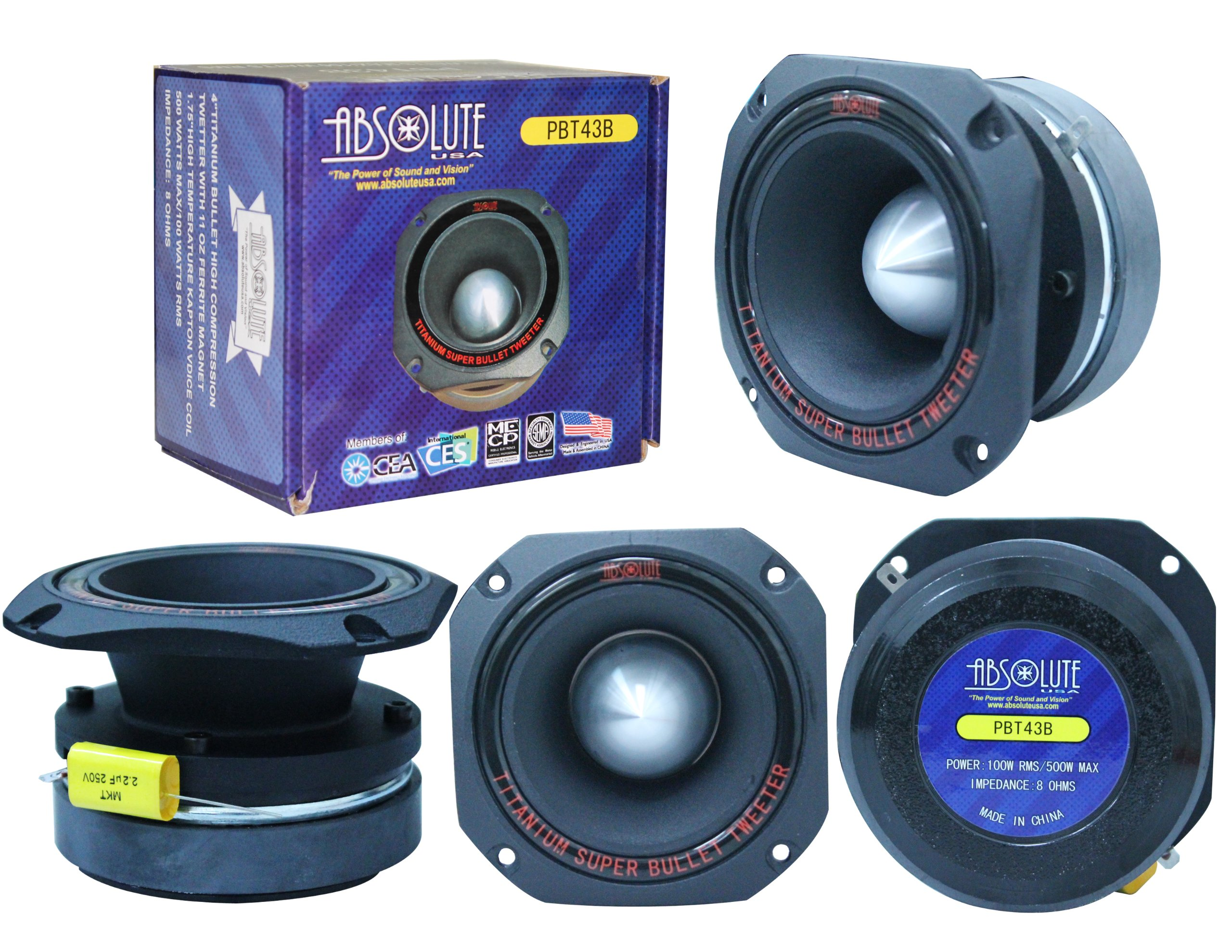 Absolute USA PBT43B 4-Inch Titanium Bullet High Compression Tweeter with 11 Oz Ferrite Magnet