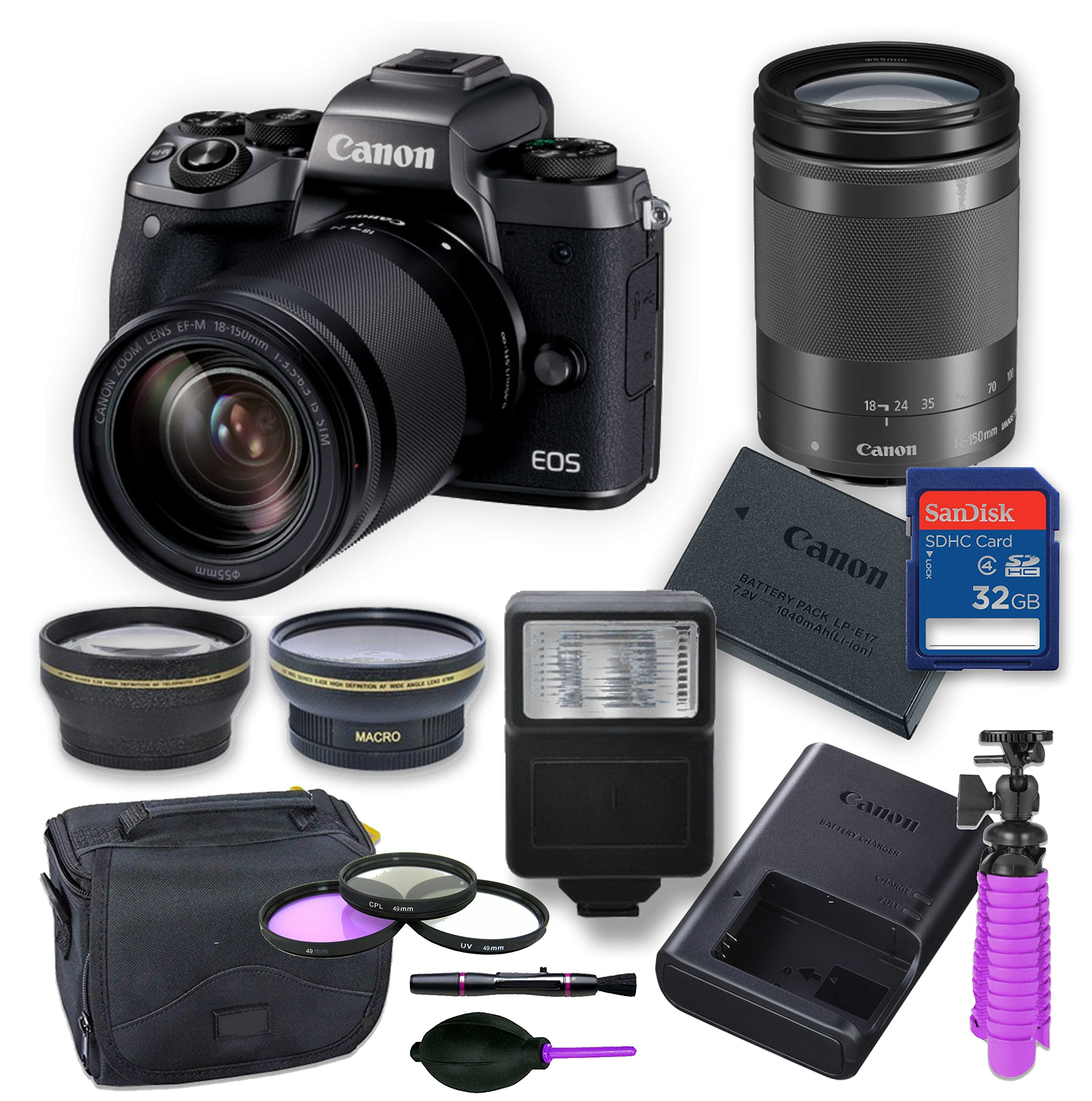 Canon EOS M5 Mirrorless Digital Camera Kit with 18-150 mm Canon Lens + Wide Angle and Telephoto lens, Digital Remote Flash, Canon Battery, 32 gig Memory Card, 3 Filter Kit, Case, Tripod & Cleaning Kit