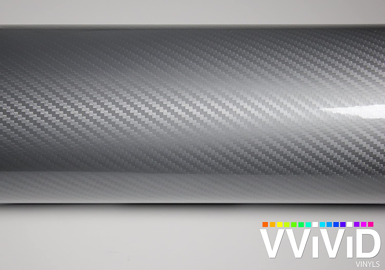 VViViD Epoxy High Gloss Carbon Fiber Automotive Vinyl Wrap Silver, 6ft x 5ft