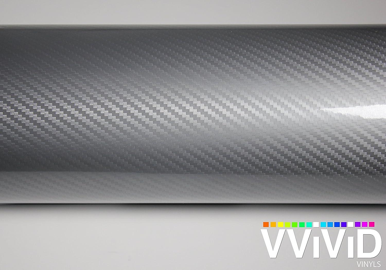 2ft x 5ft, Silver VViViD Epoxy High Gloss Carbon Fiber Automotive Vinyl Wrap