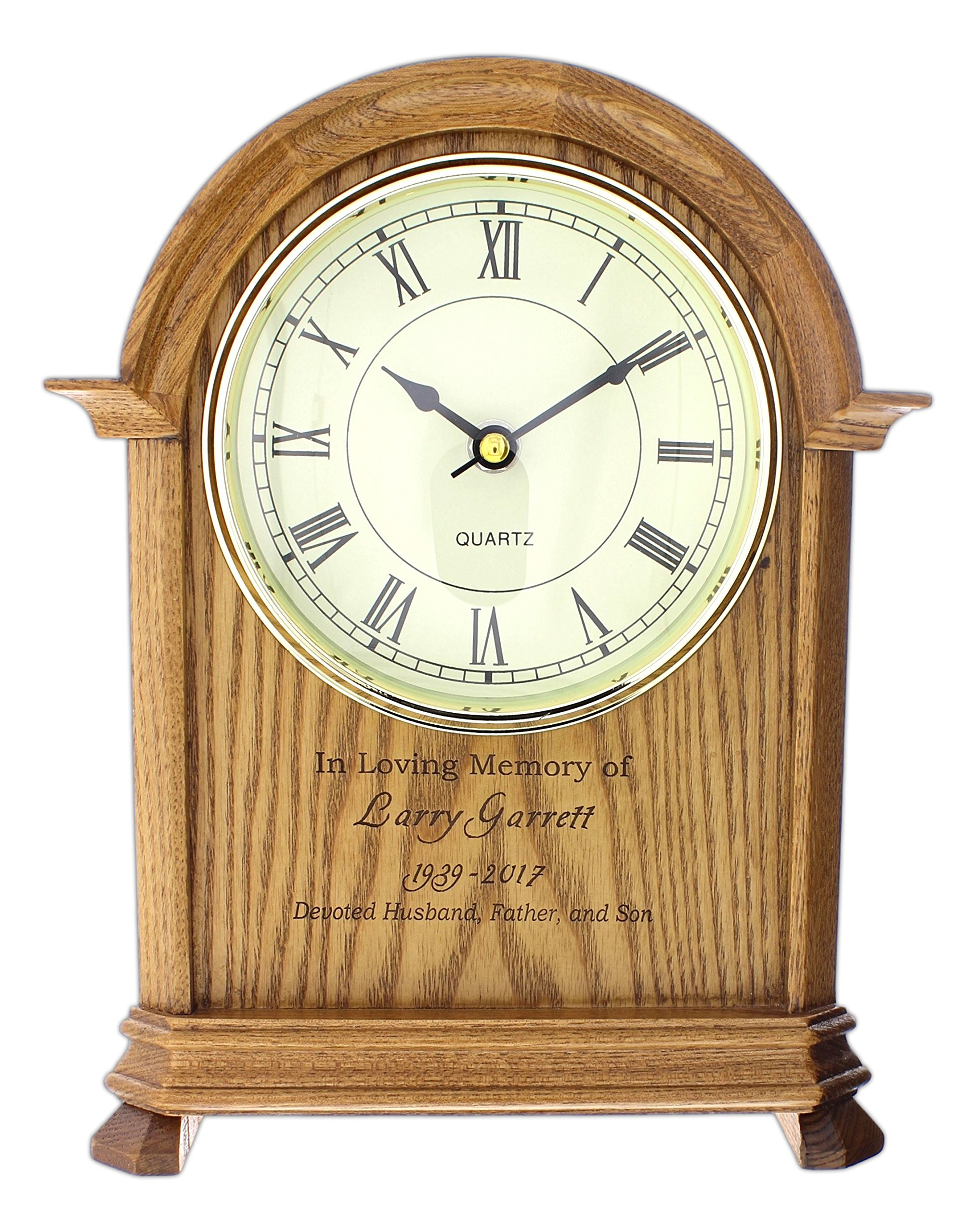 P. Graham Dunn Laser Engraved Personalized Memorial Oak Mantle Clock - 10.5'' by P Graham Dunn