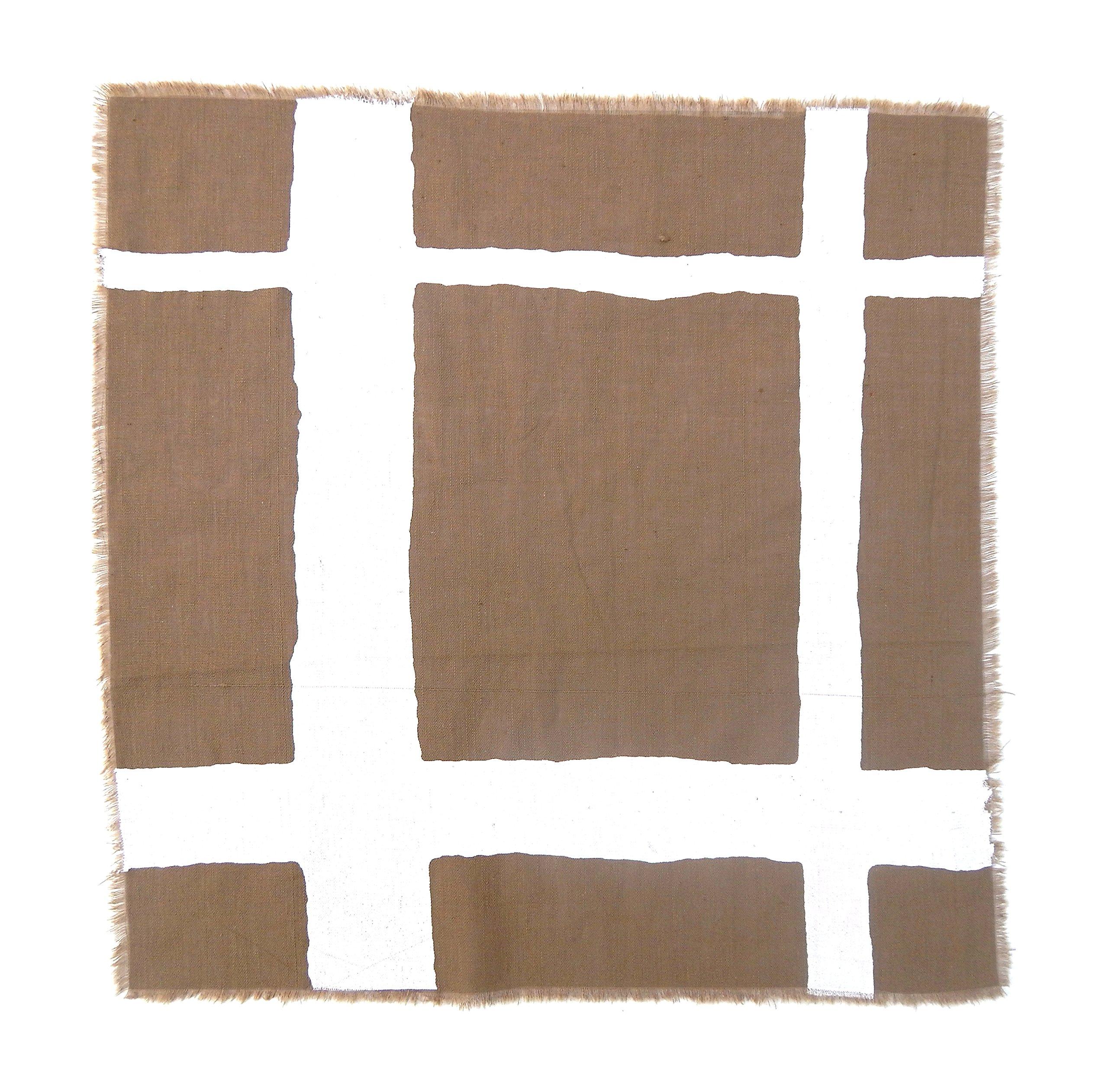 Gitika Goyal Home Windows Collection Cotton Khadi  Khaki Napkin 17x17 Checks Design, White Hand Screen Print