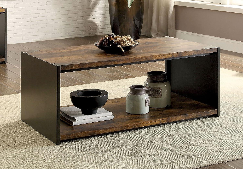 Amazon.com: Furniture of America Jhene Wood Shelf Coffee ...