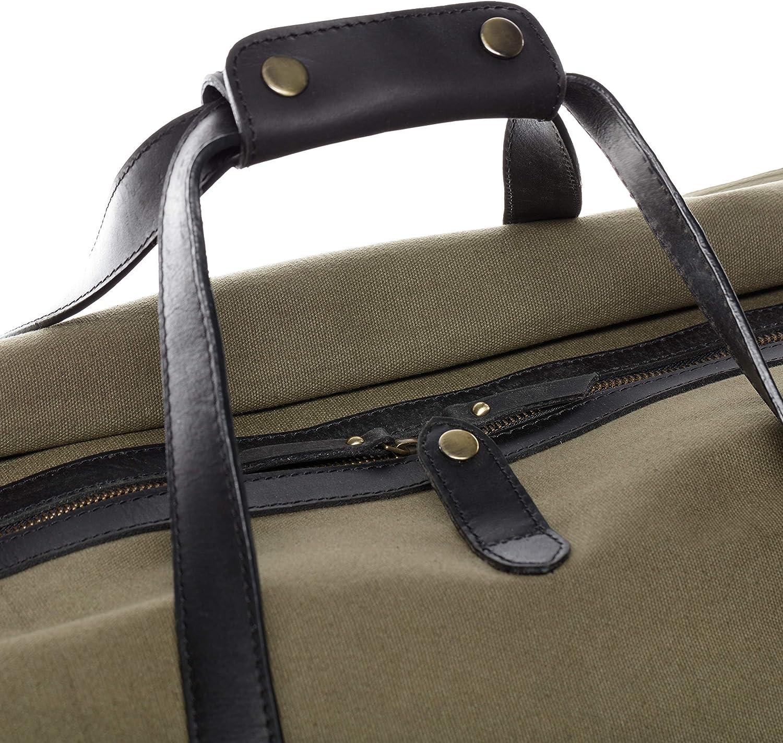 SID /& VAIN Reisetasche Canvas /& Leder Chase XL Sporttasche gro/ß Weekender Ledertasche Unisex 65 cm gr/ün