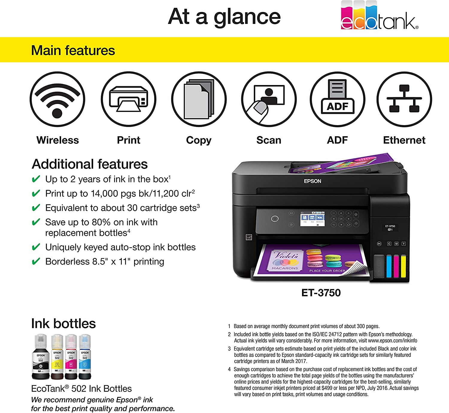 Amazon.com: Epson Workforce ET-3750 EcoTank Impresora ...