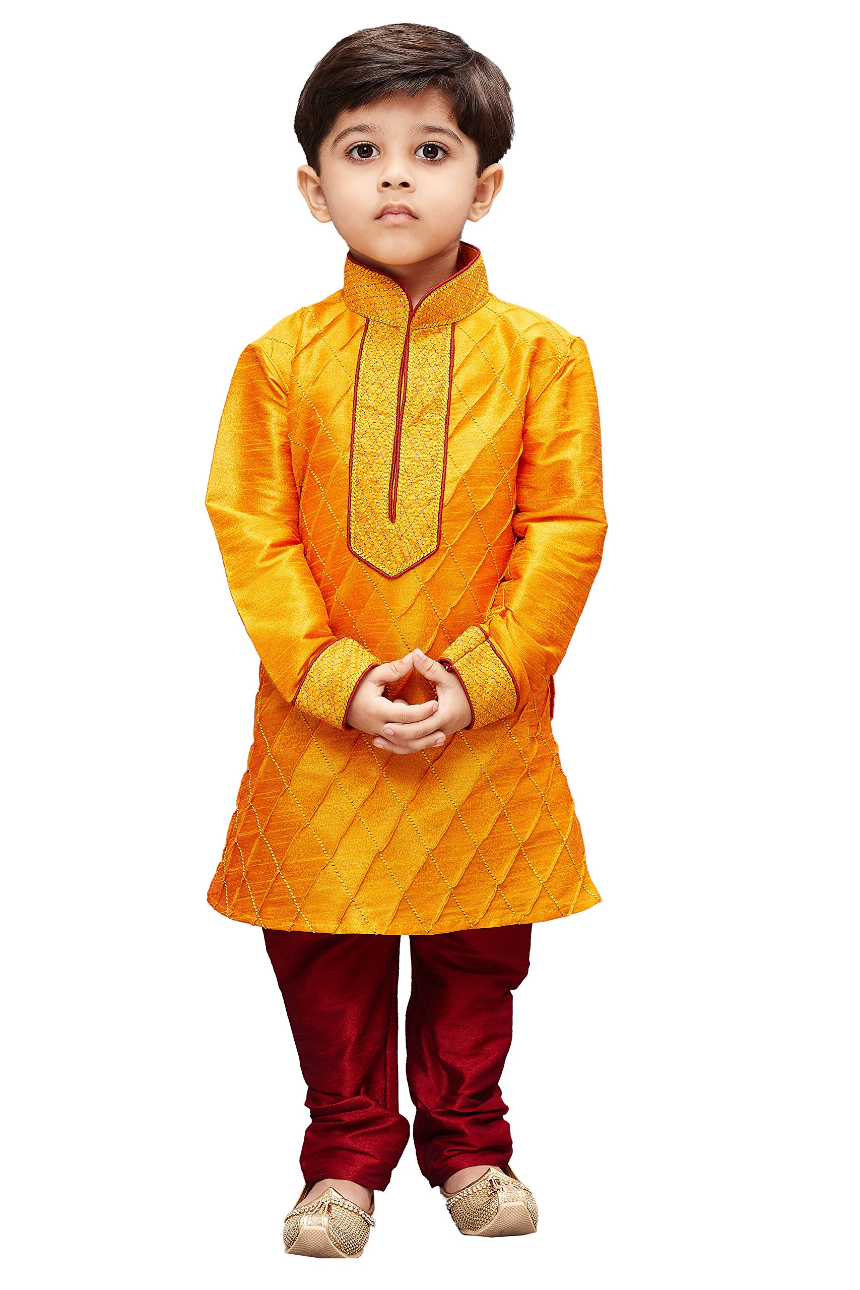 JBN Creation Boys' Orange Cotton Silk Kurta Pyjama Set(VASBKOR004nPMA_22)