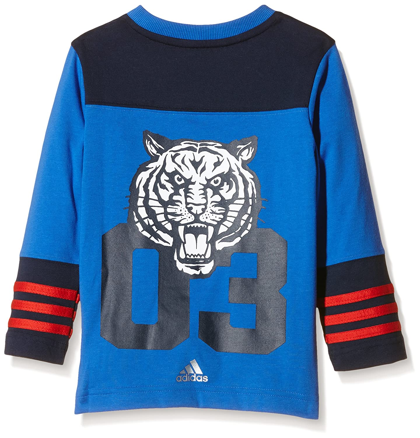 adidas Boys Long-Sleeved T-Shirt Team Multi-Coloured Blau//Grau//Rot
