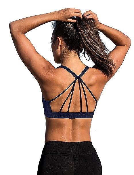 icyzone Sujetador Deportivo Yoga Diseño de Tirantes Cruzados en la Espalda Ejercicio Fitness Ropa Interior para Mujer: Amazon.es: Ropa y accesorios