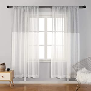 MYSKY HOME Stylish White and Grey Color Block Sheer Curtains, Linen Look Semi Sheer Drapes 84 inches Long, Rod Pocket Light Filtering Curtains for Living Room Farmhouse, Set of 2 Panels