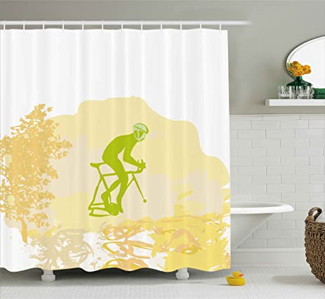Teenage Shower Curtain By Ambesonne, Sports Theme Grunge Poster Of A  Cyclist Illustration Decorative Design