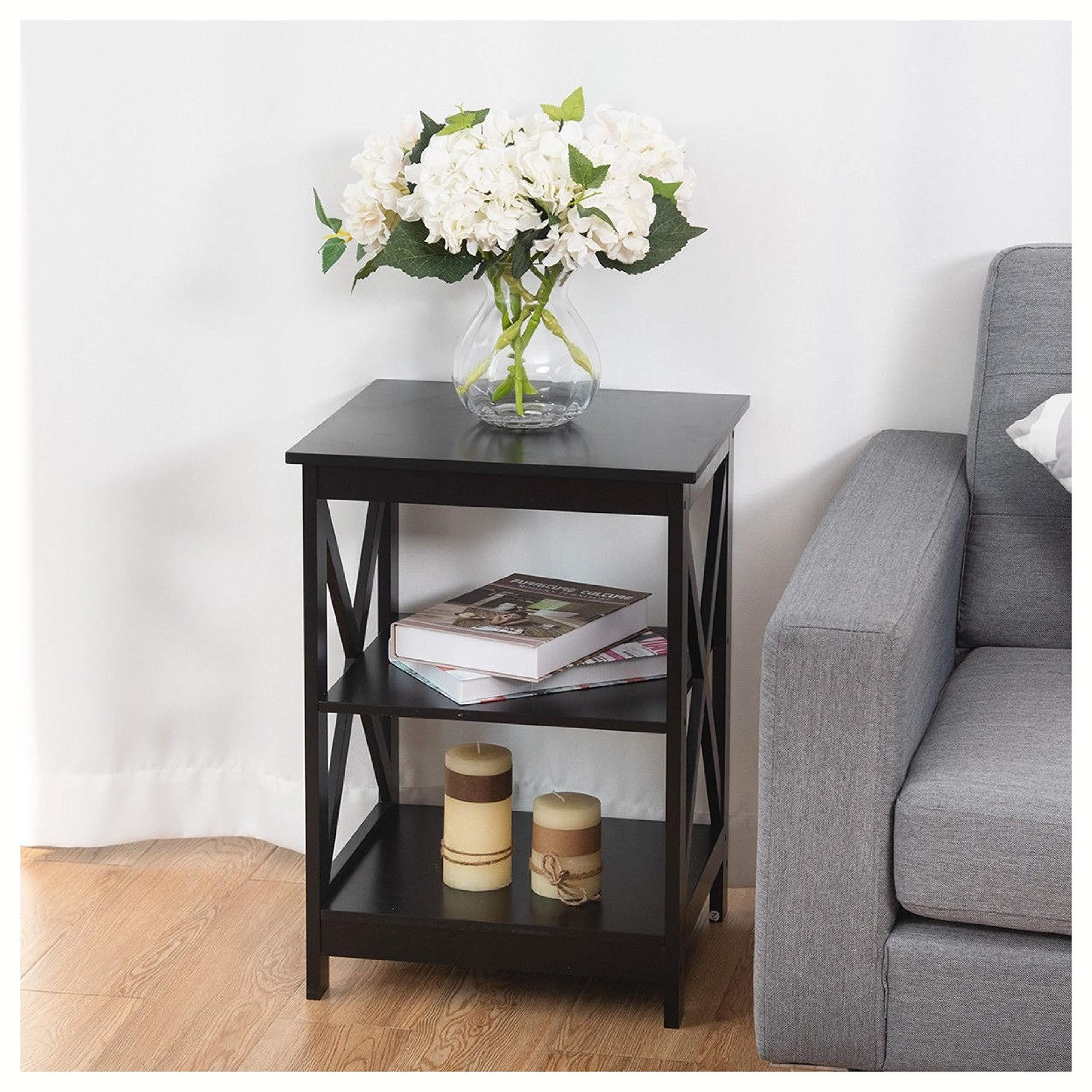 End Table, 3-Tier Living Room Display Storage Shelf Nightstand, Black