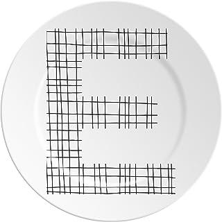 Ilaria.I ABC.E.BK Piatto con Lettera, Porcellana, Nero, 16x16x1.5 cm