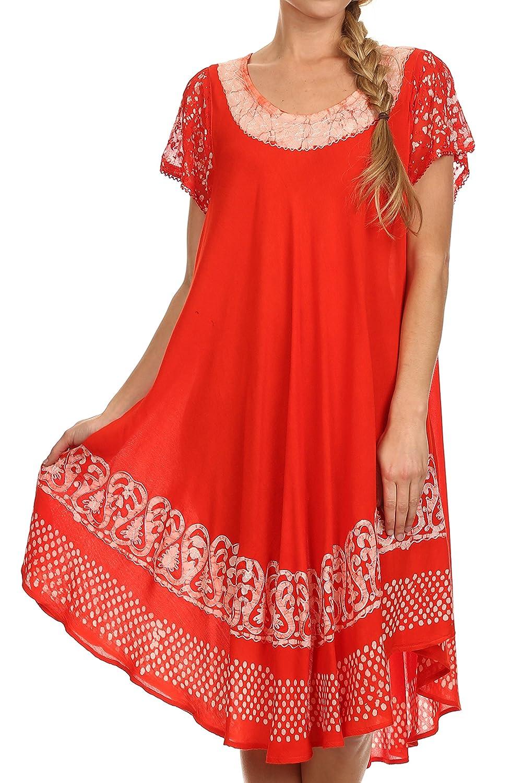 Sakkas Tahlia Batik Sheer Cap Sleeve mid-length Caftan Dress/Cover Up