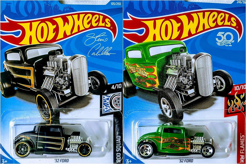 Hot Wheels 32 Ford Green 246/365 and 32 Ford Black 105/250 2 Car Bundle Set