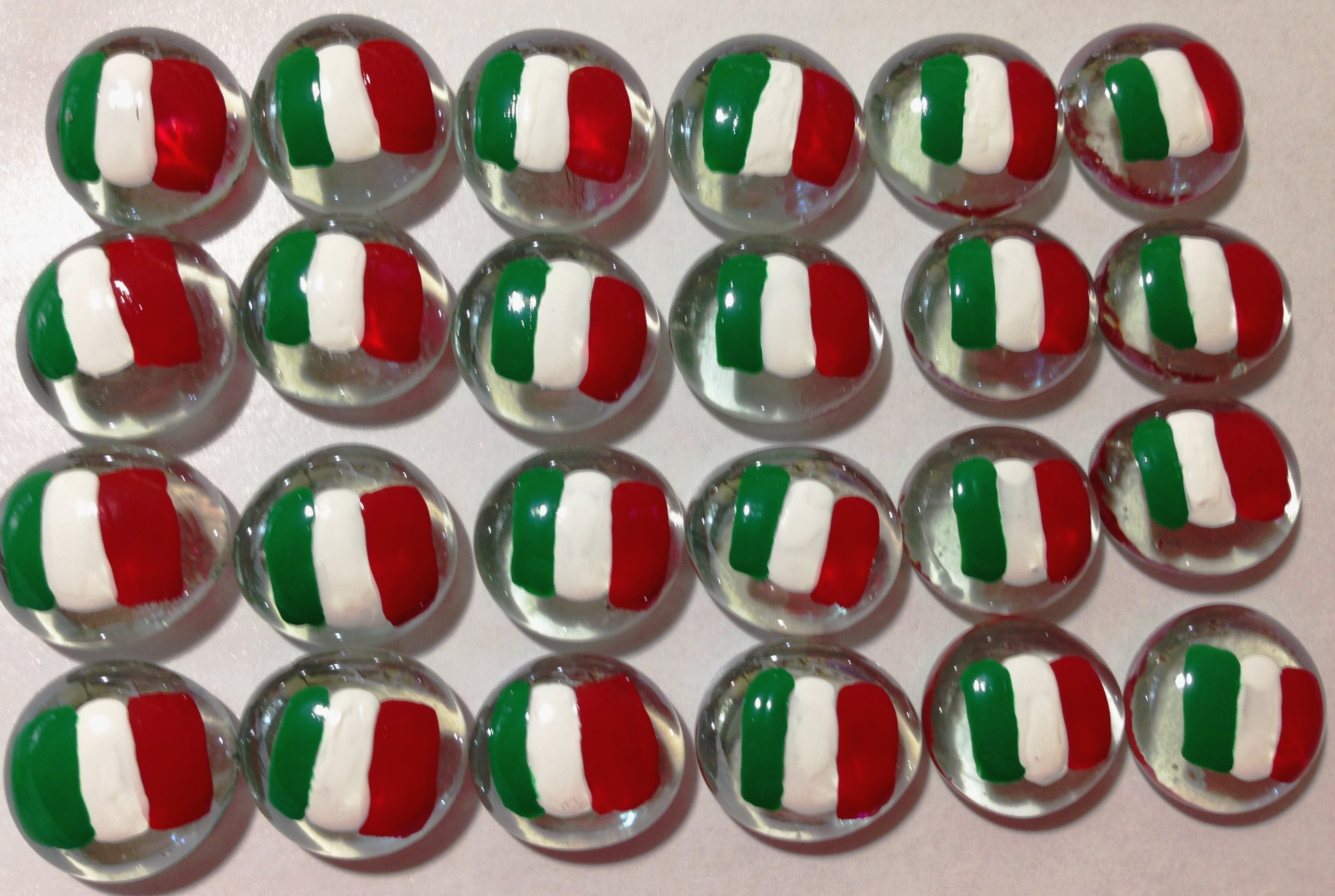 ITALIAN FLAG - Set of 24 Hand Painted Glass Gems; Party Supplies, Party Favor, Decoration, Token, Memoir, etc.let your imagination run wild!, Crafts etc, Italian Flag