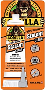 Gorilla 100 Percent Silicone Sealant Caulk, 2.8 ounce Squeeze Tube, Clear