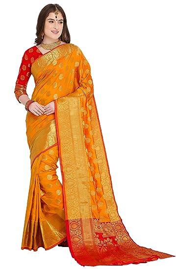 2176b076f6 EthnicJunction Booti Work Zari Butta Banarasi Silk Saree With Zari Thread  Work Unstitched Blouse Piece(EJ1178-7971,Dark Yellow): Amazon.in: Clothing  & ...