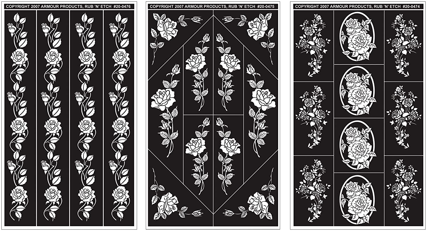 Armour Products Rub 'n' Etch Glass Etching Stencils 5in. x 8in. 3/Pkg Rose Designs 12-7042 Inc. 4336975245