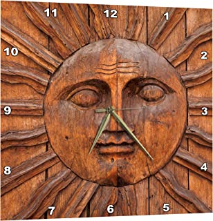 3dRose Mexico, San Miguel De Allende. Sun Carving on Doorway. - Wall Clock