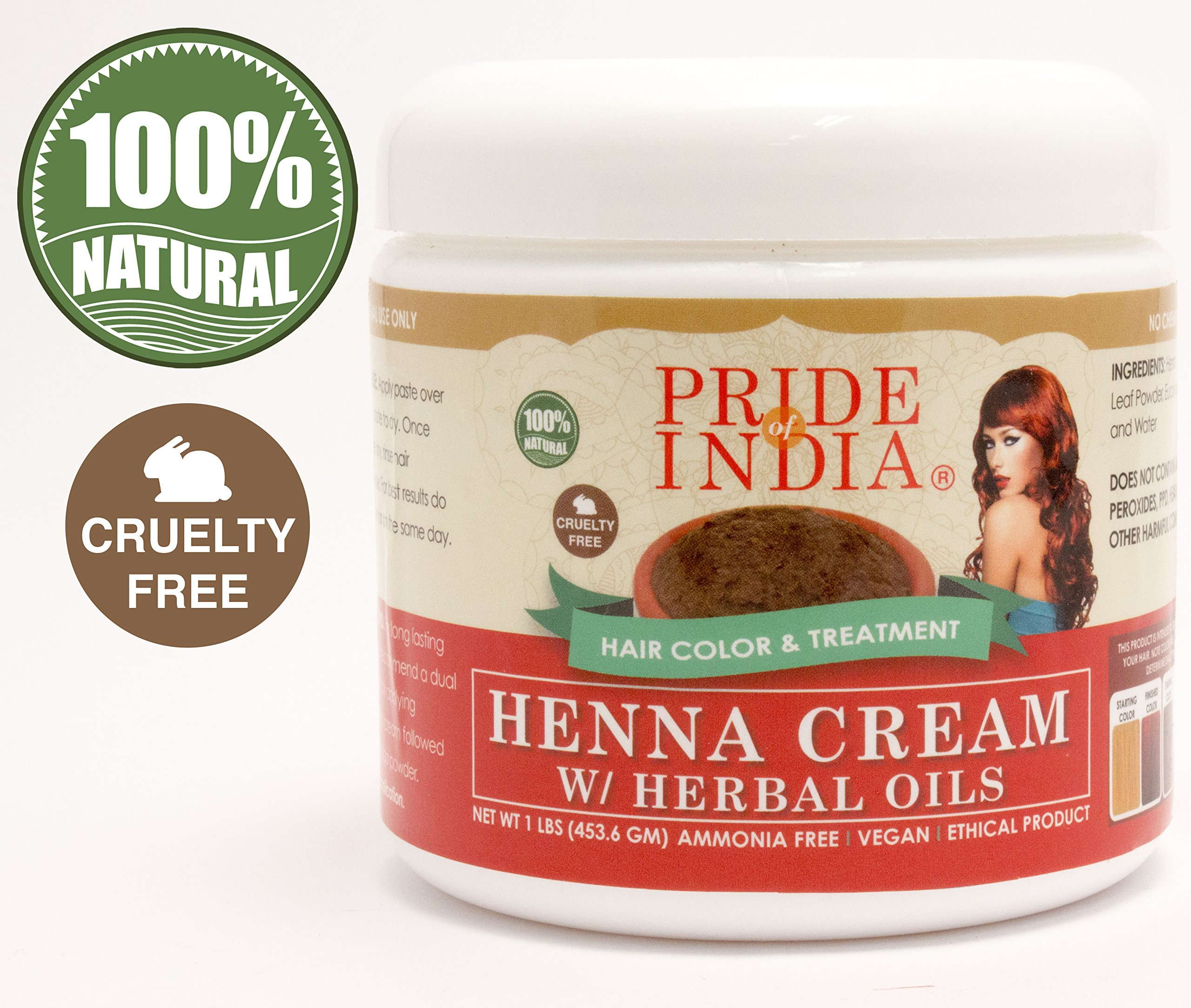 Pride Of India - Red Henna Hair Color Cream w/ Herbal Oils (Ready to use), One Pound (16oz) Jar - 100% Natural (No Chemicals/Dyes) REGULAR PRICE: $19.99, SALE PRICE: $14.99 by Pride Of India (Image #1)