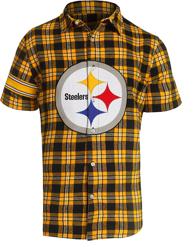 FOCO NFL Mens Color Block Short Sleeve Flannel