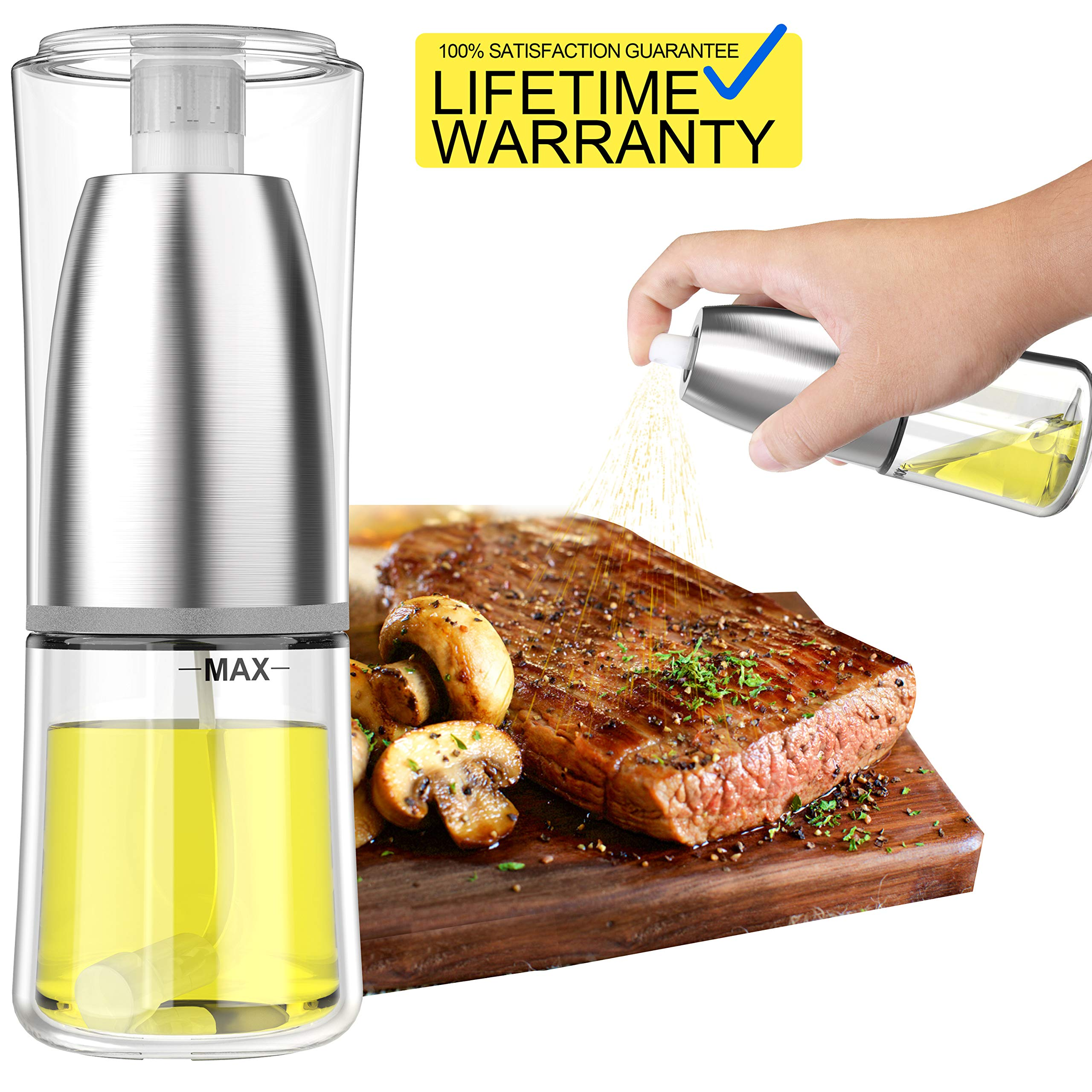 Updated 2019 Version Olive Oil Sprayer Dispenser Mister Bottle For Cooking, BBQ and Air Fryer, Premium Glass Oil Vinegar Soy Sauce Spray for Grilling, Kitchen, Salad, Bread Baking, Frying by NewFit
