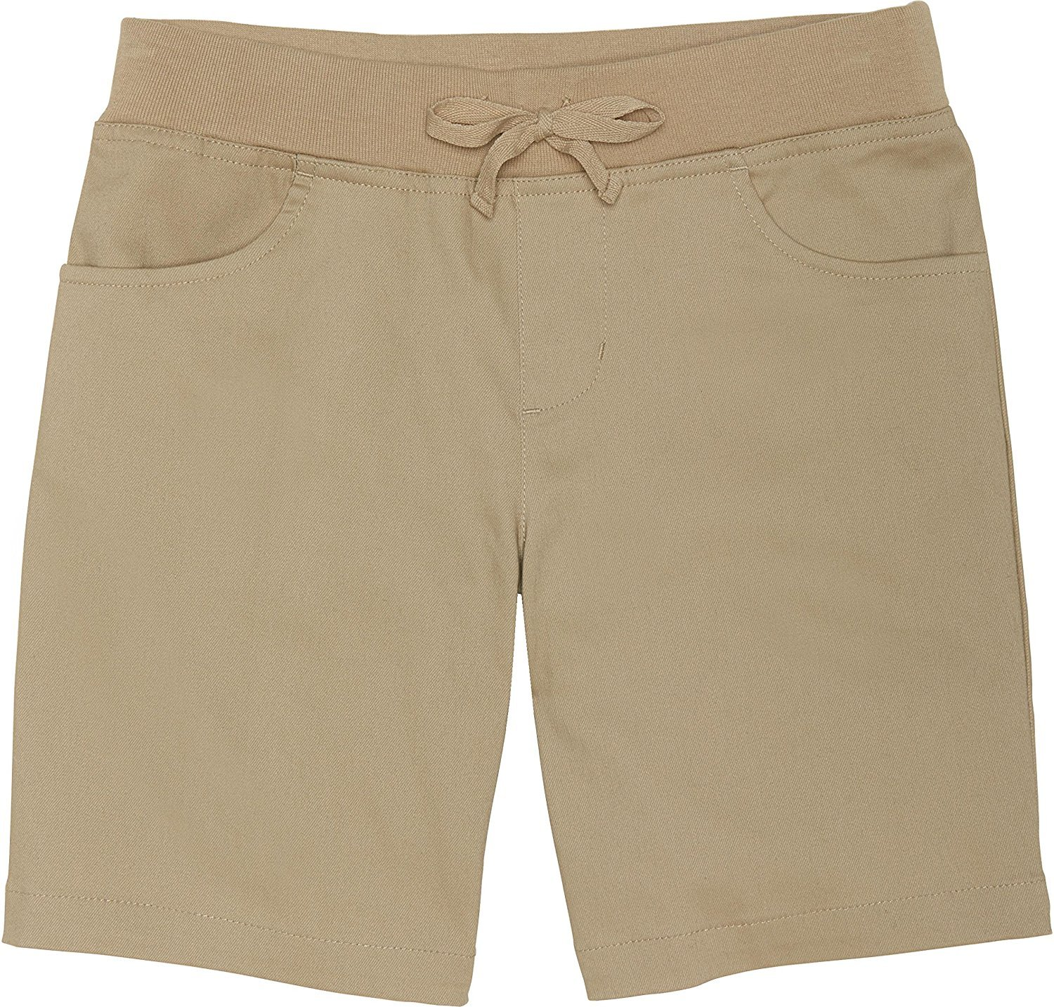 French Toast Big Girls' Stretch Pull-on Tie Front Short, Khaki, 10